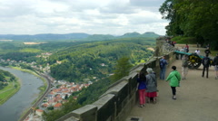 Walls of the konigstein fortress and view on Elbe river and Lilienstein mountain Stock Footage