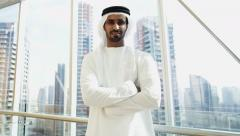 Portrait UAE Arab global businessman male banking financial office manager Stock Footage