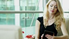 Russian business female technology tablet real estate property construction - stock footage
