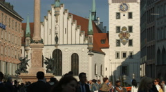 Mary's Column and the Old Tow Hall in Munich Stock Footage