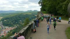 View on Elbe river, Lilienstein mountain and walls of the Konigstein fortress Stock Footage