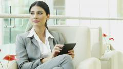 Spanish business female meeting traveller conference tablet technology Stock Footage