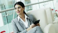 Spanish business female tablet technology trading stocks shares broker markets - stock footage