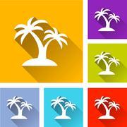 palm tree icons - stock illustration
