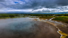 4K TimeLapse. Active geyser in Iceland Haukadalur Valley Stock Footage