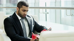 Arabic business male technology tablet building real estate property development - stock footage