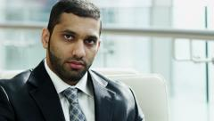 portrait Arab business male tablet technology stocks shares market trading - stock footage
