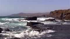 Sea surf on the rocks in the area  La Pared on Fuerteventura Stock Footage