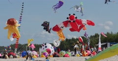 Warplane, Octopus Kite etc. - Kites of All Kinds And Shapes on International Stock Footage