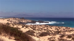Surf on Fuerteventura in the area Corralejo Stock Footage