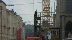 Stock Video Footage of Men working on a scaffolding in Munich