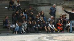 Group of tourists listening to their guide in Munich Stock Footage