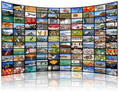 Video wall of TV screen - stock photo