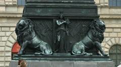 The lion statues from Max Joseph Platz, Munich Stock Footage