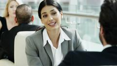 female Western Caucasian male business traveller banking finance trader global - stock footage