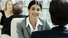 handshake female Western Caucasian male business travel banking finance trader - stock footage