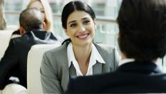handshake Hispanic female male business conference traveller tourism industry - stock footage