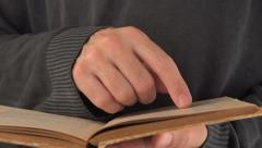 Man reading vintage book Stock Footage