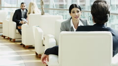business male Spanish female real estate development property tablet technology - stock footage
