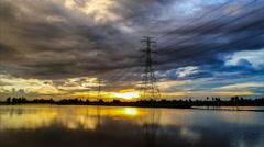 High voltage electricity pylon. - stock footage