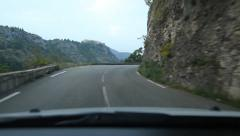 Driving on mountain road from Gourdon. Alpes-Maritimes, France. - stock footage