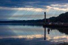 Sunrise on hood canal dock neighborhood - stock photo