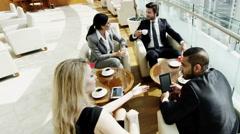 Western male female international business traveller finance technology tablet Stock Footage