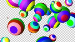 Flying colored balls alpha Stock Footage