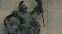 Statue commemorating the Franco-Prussian war inside the Feldherrnhalle, Munich Stock Footage
