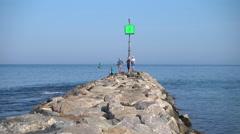 Menemsha, Massachusetts Rock jetty Stock Footage