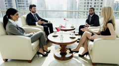 Middle East business team male female tablet real estate development success - stock footage