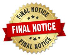 Final notice 3d gold badge with red ribbon Stock Illustration
