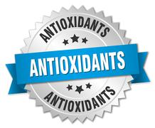 Stock Illustration of antioxidants 3d silver badge with blue ribbon