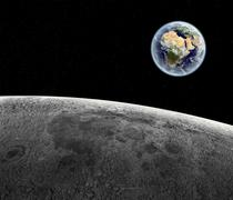View of the rising Earth seen from the Moon's surface Stock Illustration