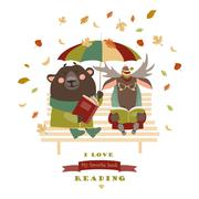 Stock Illustration of Cute bear and funny elk reading books on bench