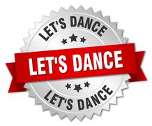 let's dance 3d silver badge with red ribbon - stock illustration