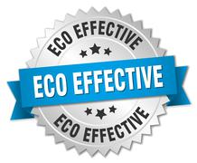 eco effective 3d silver badge with blue ribbon - stock illustration