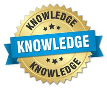 Stock Illustration of knowledge 3d gold badge with blue ribbon