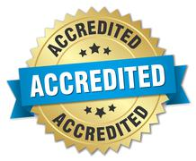 accredited 3d gold badge with blue ribbon - stock illustration