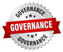 Stock Illustration of governance 3d silver badge with red ribbon