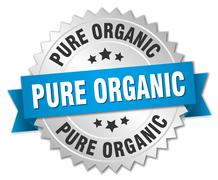 pure organic 3d silver badge with blue ribbon - stock illustration