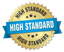 high standard 3d gold badge with blue ribbon - stock illustration