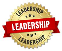 Stock Illustration of leadership 3d gold badge with red ribbon