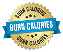 Stock Illustration of burn calories 3d gold badge with blue ribbon