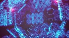 Blue Wireframe Gears Machine Looping Stock Footage