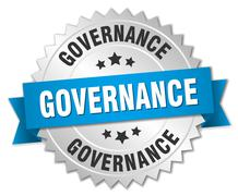Stock Illustration of governance 3d silver badge with blue ribbon
