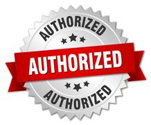 authorized 3d silver badge with red ribbon - stock illustration