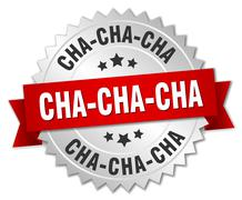 cha-cha-cha 3d silver badge with red ribbon - stock illustration