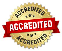 accredited 3d gold badge with red ribbon - stock illustration