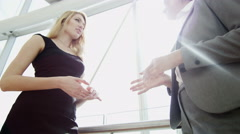 handshake Western female Eastern European business traveller global banking - stock footage